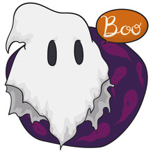 Cute Ghost Trying To Scare You During Halloween Celebration, Vector Illustration