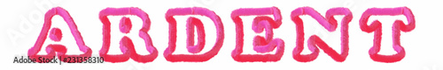 Photo Ardent - clear pink text written on white background