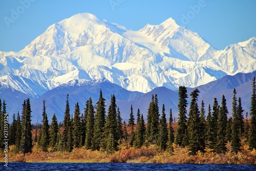 Denali in Alaska, is the highest mountain peak in North America. Wallpaper Mural