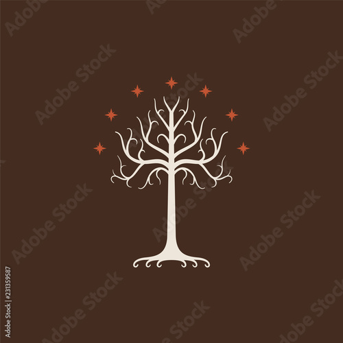 Fotografie, Tablou  White Tree of Gondor. Isolated on brown background