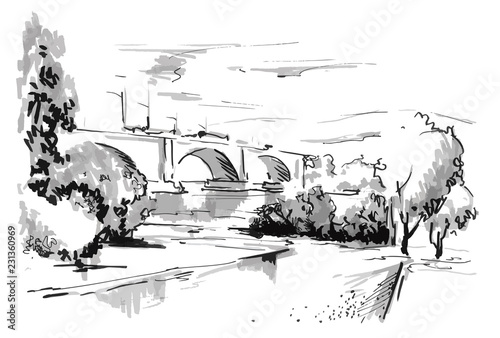 Fototapeta Watercolor sketch of city of Krasnoyarsk in Siberia. Communal bridge. Vector drawing obraz