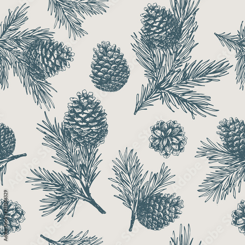 Obraz Pine cones seamless pattern. Christmas gift wrapping. Vector illustration - fototapety do salonu
