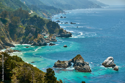 In de dag Verenigde Staten Pacific coast landscape in California