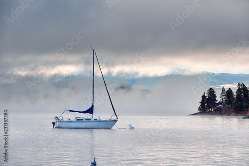 Poster Centraal-Amerika Landen Foggy misty lake landscape in Colorado, USA