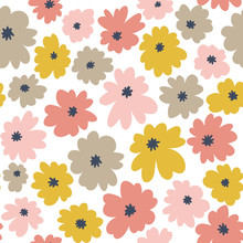 Seamless Floral Pattern In Doodle Style With Pastel Color Flowers. Vector Wallpaper.