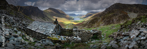 Panorama of Warnscale Bothy above Buttermere Valley, Lake District, England, UK - 231373776