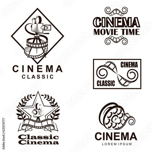 collection of cinema labels isolated on white background