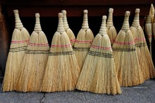 Turkish Style Brooms Traditionally Made Using Broom Corn Or Sorghum At The Market In Trabzon