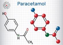 Paracetamol (acetaminophen) Drug Molecule. Sheet Of Paper In A Cage. Structural Chemical Formula And Molecule Model