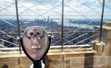 Tourist Coin Operated Binoculars At The Top Of The Empire State Building In New York City