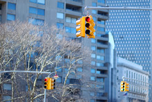 New York City Traffic Lights With Skyscrapers On Background