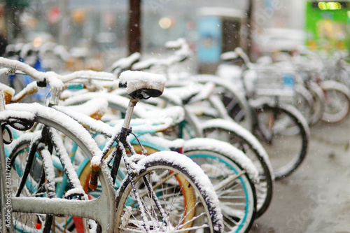 Photo Row of old bicycles covered with snow after massive snowfall in New York City at wintertime