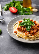Pasta Bolognese. Spaghetti With Meat Sauce