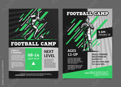 Obraz Football, soccer camp posters, flyer with football player - template vector design - fototapety do salonu