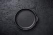 Cast iron frying pan on black backgound