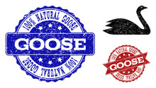 Grunge Goose Icon And Unclean Seals. Vector Seals With Grunge Rubber Texture For Goose Illustrations.