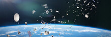 Space Junk In Earth Orbit, Dangerous Debris Orbiting Around The Blue Planet