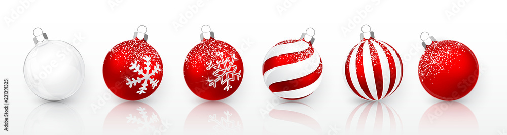 Fototapety, obrazy: Transparent and Red Christmas ball with snow effect set. Xmas glass ball on white background. Holiday decoration template. Vector illustration