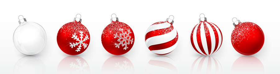 Transparent and Red Christmas ball with snow effect set. Xmas glass ball on white background. Holiday decoration template. Vector illustration