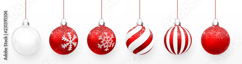 Canvas-taulu Transparent and Red Christmas ball with snow effect set