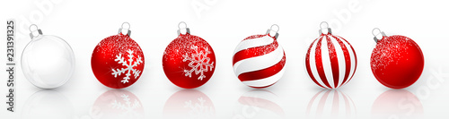 Obraz Transparent and Red Christmas ball with snow effect set. Xmas glass ball on white background. Holiday decoration template. Vector illustration - fototapety do salonu