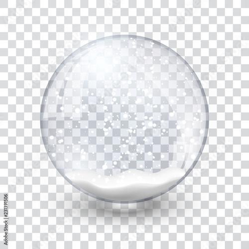 Obraz na plátně snow globe ball realistic new year chrismas object isolated on transperent backg