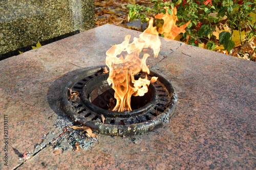 Fotografia  Orange is a beautiful warm hot eternal flame burning from the ground in memory o