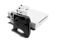 Modern White Joysticks With Video Game Console And Portable Game Console Right View 3d Render On White Background With Shadow