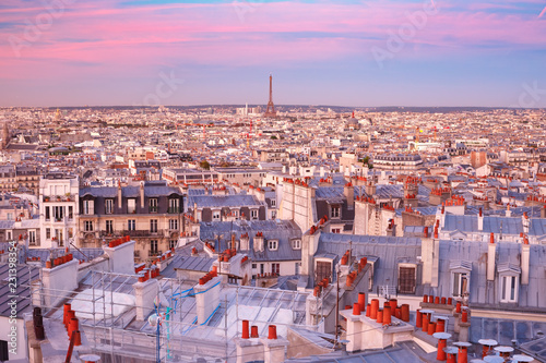 Foto auf AluDibond Rosa Lovey Aerial panoramic view from Montmartre over Paris roofs and Eiffel tower at nice sunrise, Paris, France