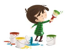 Niño Pintando Con Brocha Y Co...