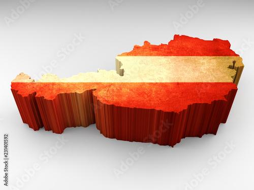 Austria map 3d textured with an Austrian flag © navarro raphael