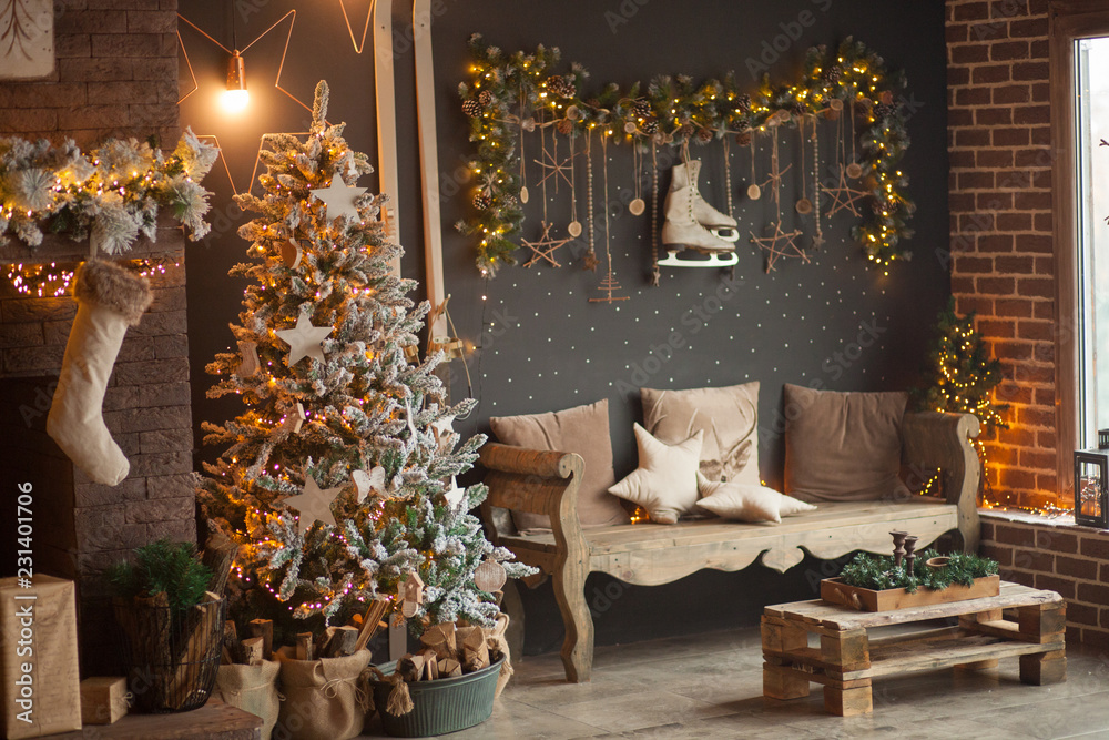 Fototapety, obrazy: Beautiful decorated christmas room