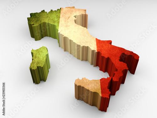 3d textured Italy map with an italian flag © navarro raphael