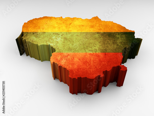 Lithuania 3d map textured with a Lithuanian flag © navarro raphael