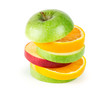 Fresh fruits. Stack of apple and orange slices