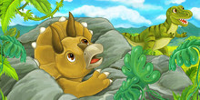 Cartoon Scene With Triceratops Hidind Behind The Rock From Tyrannosaurus Rex - Illustration For Children
