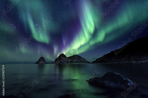 Photo sur Aluminium Aurore polaire Aurora Borealis, Norway