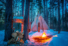 Tipi. Forest In Winter. Indian Home. Bonfire In The Forest. Ethnography. People Of America. Living In The Forest. Ecological Tourism. Wigwam.