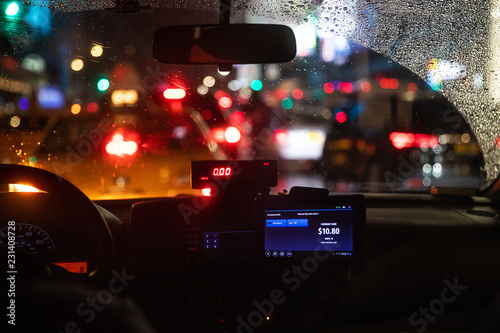 Fotografering Interior view of taxi cab stuck in New York traffic
