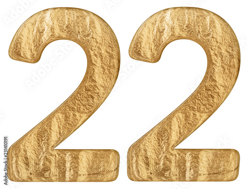 Fotografia  Numeral 22, twenty two, isolated on white background, 3d render