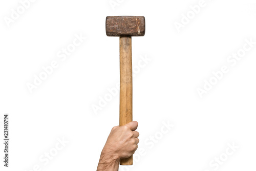 Valokuva Old sledgehammer in a man's hand. White background. Isolated
