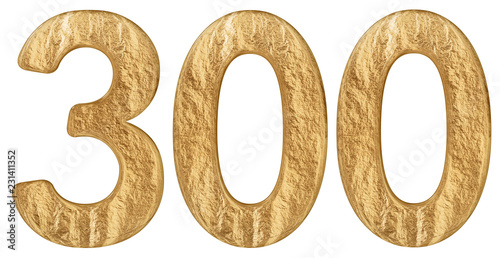 Fotografie, Obraz  Numeral 300, three hundred, isolated on white background, 3d render