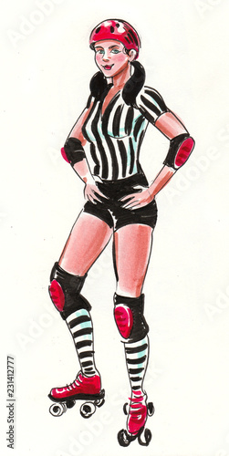 Fotografia Pretty girl on roller skates. Ink and watercolor illustration