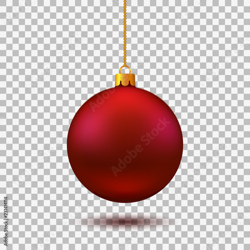 In de dag Bol Red Christmas ball. New year toy - vector