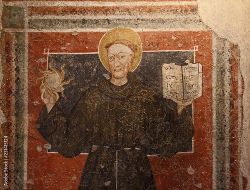 Slika na platnu San  Bernardino da Siena: affresco strappato; Castello del Buonconsiglio, Trento