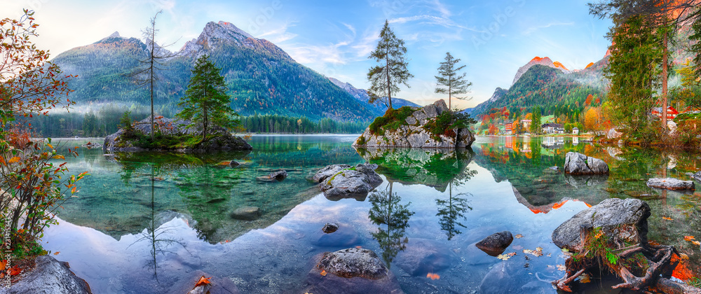 Fototapety, obrazy: Fantastic autumn sunrise of Hintersee lake. Classic postcard view of Hintersee