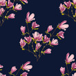 Floral magnolia cute seamless pattern. Vector illustration.