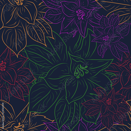 Foto op Canvas Kunstmatig Floral magnolia cute seamless pattern. Vector illustration.