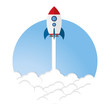 Rocket launch illustration. Business or project startup banner concept. Flat style illustration
