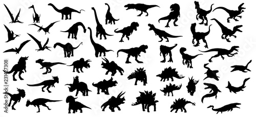 Dinosaur silhouettes set Wallpaper Mural